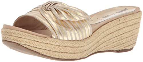 andal Wedge Sandal Slide, Gold Natural Fabric, 10 Medium US ()