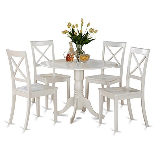 (East West Furniture DLBO5-WHI-W 5 PC Kitchen Set-Small Table and 4 dinette Chairs, 5 Pieces, Linen White)