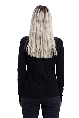 Abbino 8235 Chaquetas de Punto para Mujer - Hecho en ITALIA - 4 Colores - Verano Otoño Invierno Entretiempo Cardigans Rebecas Mujeres Largas Elegante Casual Vintage Fiesta Rebajas - Talla única Negro