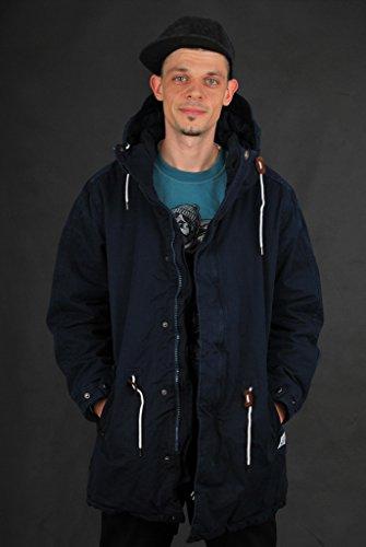 Cleptomanicx Long Parka Dark Navy Wintermantel