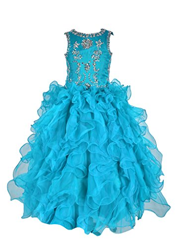 GreenBloom Girls Ruffles Crystals Formal Ball Gowns Pageant Dresses Blue 8