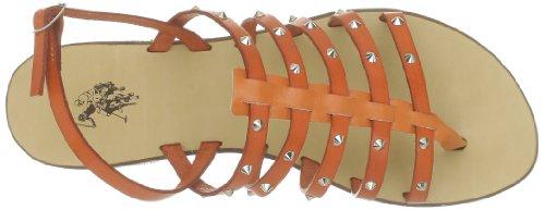 US Polo Assn - Sandalias de cuero para mujer Naranja (Orange)