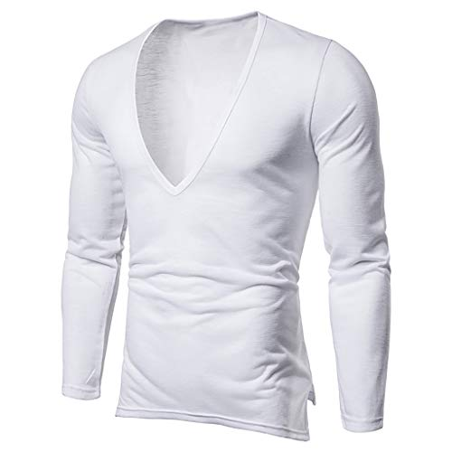 iHPH7 T-Shirt Men Slim-Fit Long Sleeve Crewneck T-Shirt Fashion Men Handsome Casual Long-Sleeved T-Shirt Deep V-Neck Tops L White -