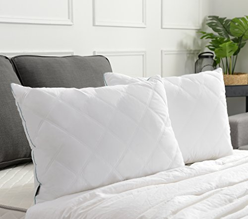 Basic Beyond Soft Quilted Feather Down Pillow (King) All Season White Bed Pillow Soft Firm 2 Pack for Best Seller Down Pillow ()