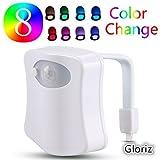 Luz tocador led, Gloriz LED Toilet Light, Luz de Wc, Lámpara led, Sensor movimiento luz nocturna con 8 colores cambiantes, Lluminación nocturna para cuartos de baño