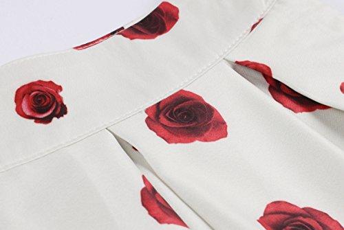 plissettate Vino GAESHOW motivo vintage a ruota donna a Rosso Gonne con da pieghe floreali fw5q6w