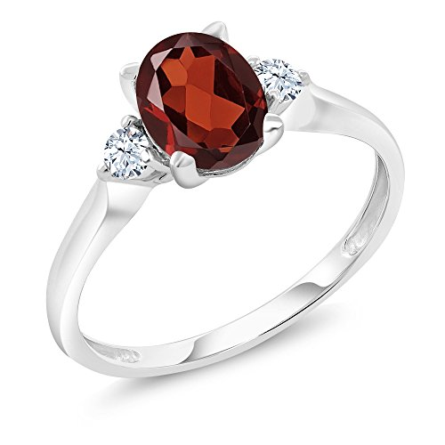 10K White Gold 1.30 Ct Red Garnet White Created Sapphire 3-Stone Ring (Available in size 5, 6, 7, 8, 9) by Gem Stone King