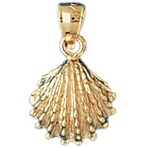 14K Yellow Gold Shell Pendant Necklace - 18 mm 14k Yellow Gold Shell
