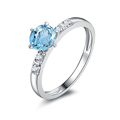 Adisaer Womens Anniversary Wedding Ring 925 Sterling Silver Plated Width 6Mm Round Blue Topaz Ring Size 10.5