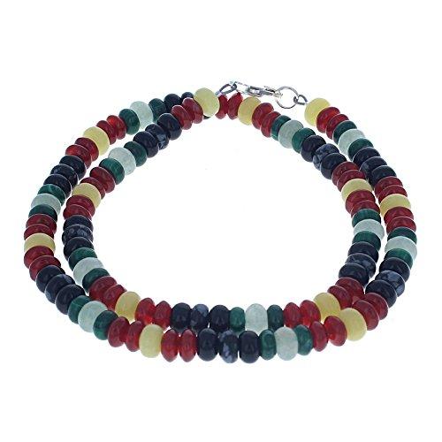 Serpentine, Aventurine, Carnelian, Malachite, Snow Flake Obsidian & Black Onyx Mens Beaded Necklace - (Malachite Onyx Necklace)