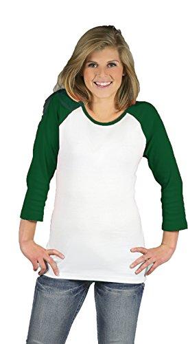 Monag Women Raglan T-shirt (Large, White/Kelly Green)