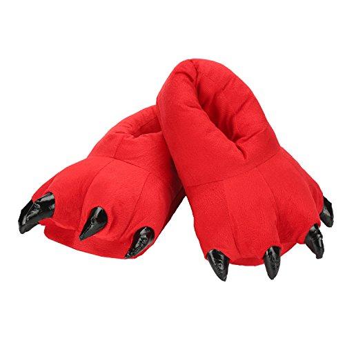 Unisexe en Kigurumi Hiver Adulte Peluche Souple Slipper Cosplay Figure Chaussons Peluche Rouge Animal Pantoufle Chaussure FPwBxOf
