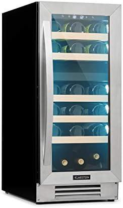 Klarstein Vinovilla – nevera para vinos encastrable, 2 zonas, 29 botellas / 74 litros, arriba 5-12 °C/abajo 12-20 °C, puerta acristalada, iluminación 3 colores, clase B, acero inoxidable, Plateado[Clase de eficiencia energética B]