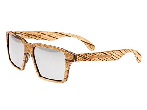 Earth Wood Piha Polarized Wayfarer Sunglasses, Zebrawood//Black, 56 mm - Wood Earth Sunglasses Polarized
