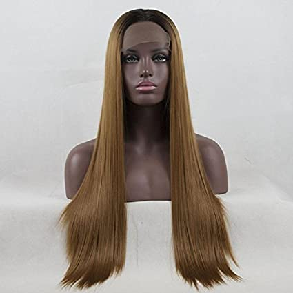 Royalvirgin Peluca de encaje rubio marrón, peluca de 66 cm para mujer, peluca de