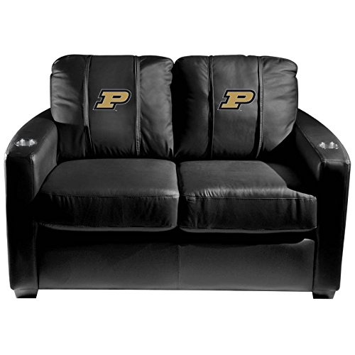 XZipit College Silver Loveseat with Purdue Boilermakers Logo Panel, Black
