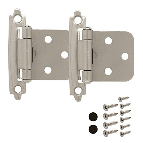 Cabinet Door Hinges (2 Pack) Self Closing Face Mount Overlay, Satin Nickel