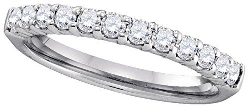 Sonia Jewels Size 8-14k White Gold Round Pave-set Diamond 2.5mm Wedding Band (1/2 (9k Gold Pave Diamond)