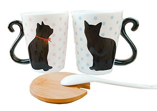 China Wood Mug (2PCS Creative Black Cat Tail Handle Ceramic Couple Coffee Mug Tea Cup with Wood Lid and Spoon)