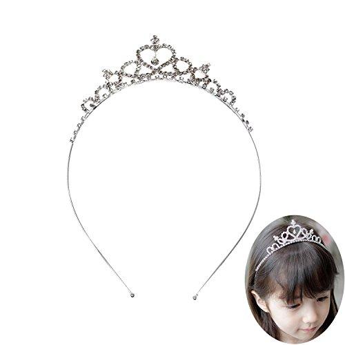 Honbay Children Flower Girls Crystal Rhinestones Heart Shaped Crown Headband Tiara for Wedding Birthday Party