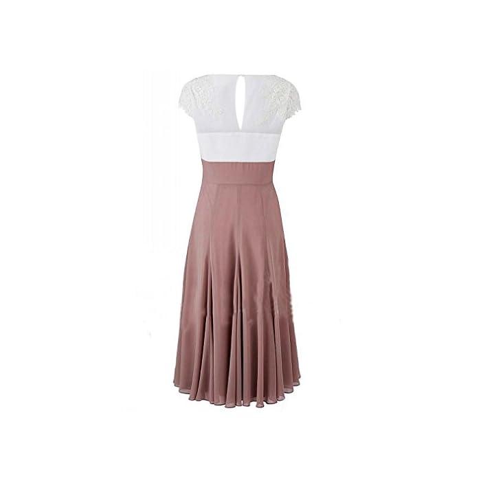0f08f1f349 ... Dresses Fashionbride Women s V-Neck Short Sleeve Evening Gowns Mother  of The Bride Dresses Tea Length ED41 Grey-US10.   