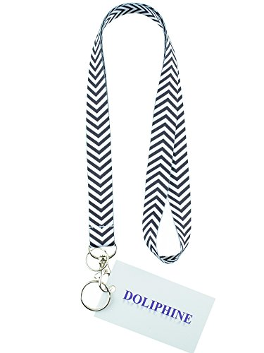 Polyester Fabric Chevron Necklace Keychain Lanyard with Two Keyring and Lobster Hook for Key / ID Holder/ USB (Black)