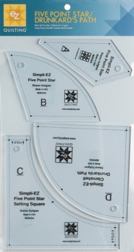 Five Point Star/Drunkard's Path Template - 0.1'' 1 pcs sku# 1076974MA by Wright's