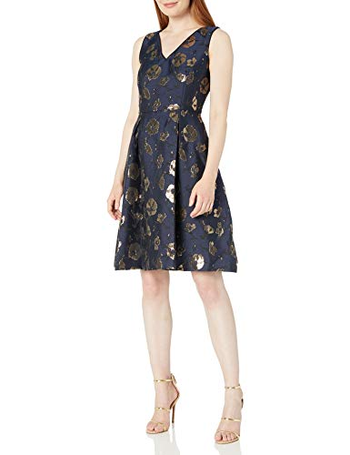 Ivanka Trump Women#039s Socail Fit and Flare Gold Floral Print Dress Navy Black 4
