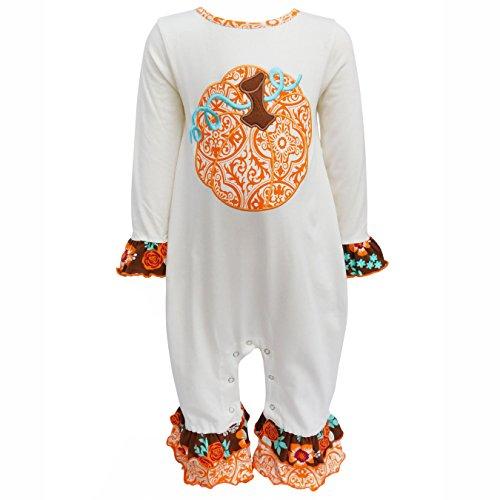 AnnLoren Baby Girls 18-24 mo Boutique Pumpkin Patch Autumn Thanksgiving Romper ()