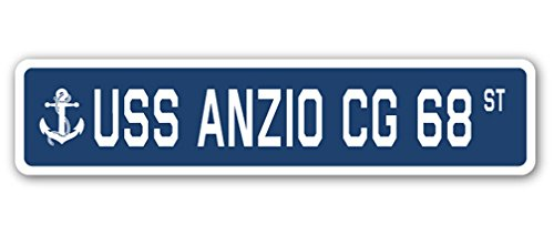 USS Anzio CG 68 Street Sign us Navy Ship Veteran Sailor Gift