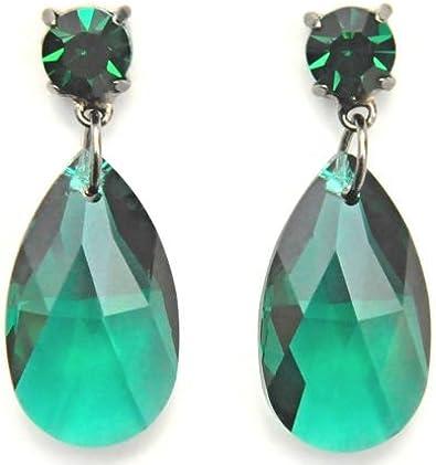 Pera de pendientes de cristal de Swarovski en color verde para orejas perforadas / pendiente de cristal Swarovski / aretes con Tear Drop en verde