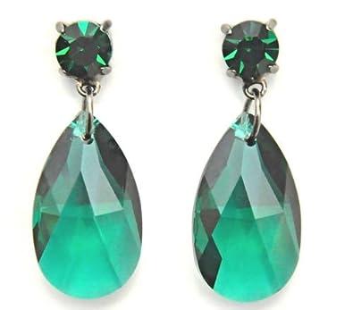 Pera de pendientes de cristal de Swarovski en color verde para orejas perforadas / pendiente de