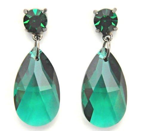 fb13ec1dccdb Pera de pendientes de cristal de Swarovski en color verde para orejas  perforadas   pendiente de cristal Swarovski   aretes con Tear Drop en verde   Kish ...