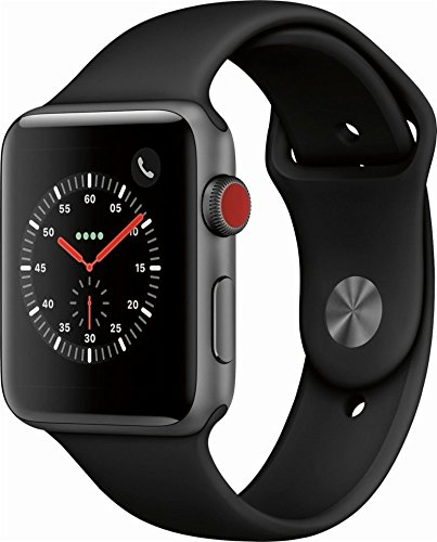 Apple Watch Series 3 (GPS  Cellular) 42mm Space Gray Aluminum Case with Black Sport Band - Grey