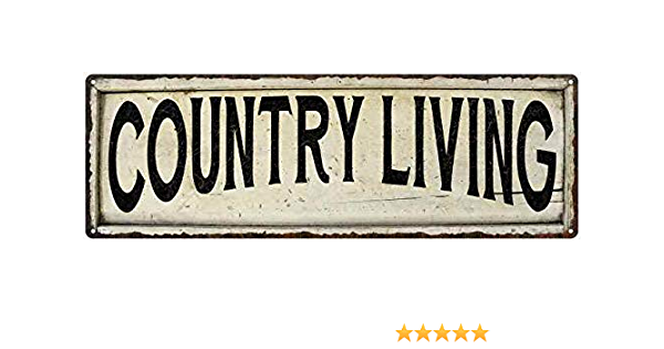Rural Living Decor Large Vintage White with Black Display Prop Shabby Distressed Farmhouse Style Country Home Enameled Sign