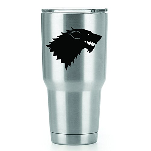 Stark Game of Thrones Vinyl Decals Stickers ( 2 Pack!!! ) | Yeti Tumbler Cup Ozark Trail RTIC Orca | Decals Only! Cup not Included! | 2 - 3 X 4 inch Black Decals | KCD1066 ()