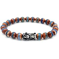 YHY Men's 8mm Dzi Tibetan Agate Bracelet - Seeking Wisdom and Extrication