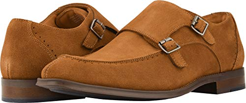 (STACY ADAMS Men's Balen Double-Monk Strap Loafer Tan Suede 9.5 D)