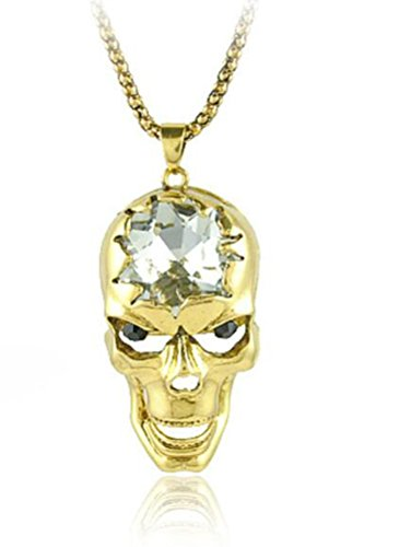 [SunIfSnow Women Halloween Unqiue Big Crystal Skull Skeleton Golden Necklace] (Homemade Halloween Pet Costumes Ideas)
