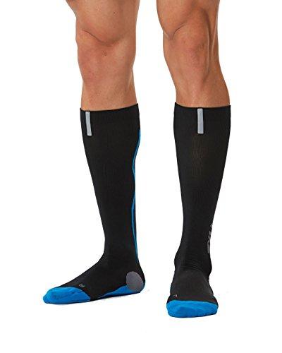 2XU Men's Hyoptik Athletic Reflective Compression Socks (Black/Vibrant Blue, L)