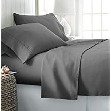 Rajlinen Luxury Egyptian Cotton 650-Thread-Count Sateen Queen Sheet Set Dark Grey Solid
