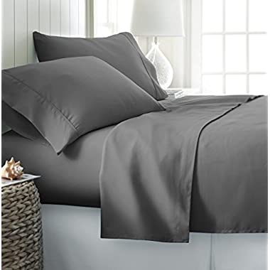 Rajlinen Luxury Egyptian Cotton 650-Thread-Count Sateen Queen Sheet Set Dark Grey Solid