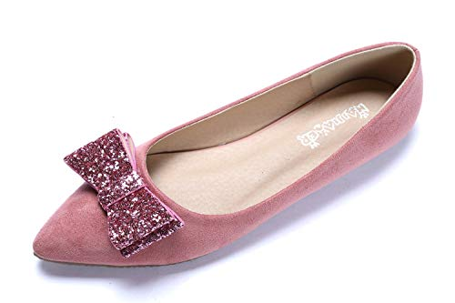 CANPPNY Comfortable Classic Flats Women's Shoes Bow Slip On Ballet Flats Pink Dress Shoes