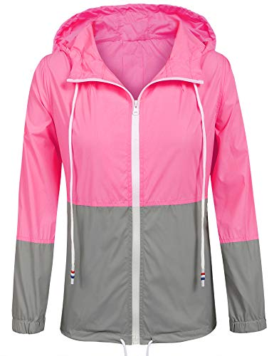 SoTeer Women's Waterproof Raincoat Outdoor Hooded Rain Jacket Windbreaker (15 Colors S-XXXL)