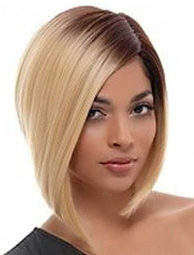[Tsnomore Chic Blond With Brown Root Short Bob Women Wig] (Chic Wig In Blonde)