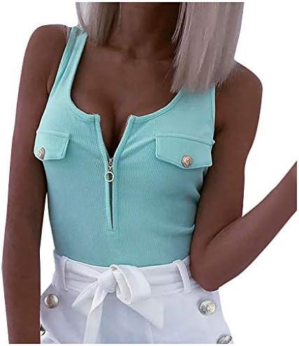 URSING modny damski tank top z guzikiem, seksowny tank top, bez ramiączek, krÓj slim fit, bluzka z odkrytymi plecami, z odkrytymi ramionami, top na lato: Odzież