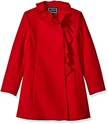 Rothschild Big Girls\' Faux Wool Coat with Ruffle Trim, Red, 12