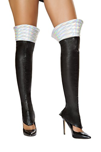 Roma Costume Iridescent Space Girl Leggings, Black and Silver -