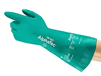 """Ansell AlphaTec 58-335 Nitrile Heavy Duty Chemical Immersion Glove, Chemical Resistant, 31 mil Thickness, 15"""" Length, Size 10, Grass Green (Pack of 12 Pair)"""