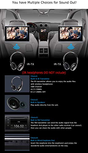 Dual Headrest DVD Player for Car Backseat Video Monitor Auto Rear Seat Entertainment System Touch Screen HD 1080P with DVD USB SD by AUTOWINGS (Image #4)
